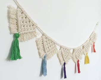 Macrame bunting/wall hanging with colourful tassels