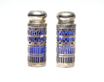 Vintage Silver Plated by Elegance Cobalt Blue Salt Pepper Shakers Gothic Style