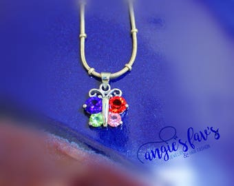 Ball Chain Necklaces, Multi Stone Butterfly