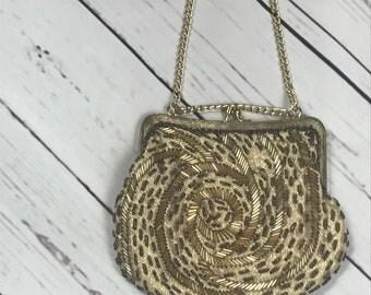 60's beaded evening purse - beaded purse - vintage beaded purse - cream colored purse