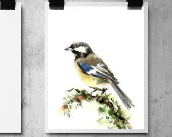 Great tit bird print, watercolor painting print of bird, bird art, bird wall art print
