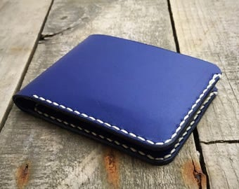 Kangaroo Leather Wallet, Personalised Wallet, Blue Leather Wallet, Bifold Wallet, Billfold Wallet, Mens Leather Wallet, Mans Leather Wallet