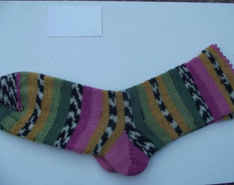Hand Cranked Pink Yellow and Green socks