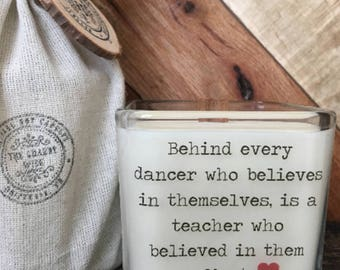 Dance Teacher Candle / FREE RUSH SERVICE / Dance Teacher Gift / Teacher Appreciation / Gifts For Teacher / Dance Candle