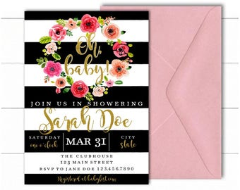 Black and White Baby Shower Invitation