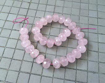 Full Strand Faceted Natural Rose Quartz 18MM Rondelle Beads