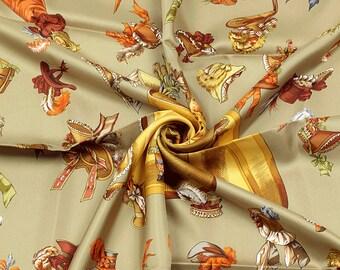 "HERMES SCARF Silk ""Paris Modiste"" by Hugo Grygkar 90cm Carre 100% Auth"