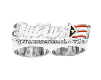 SNS176dc2 11mm Silver National Flag Two Finger Name Ring with Pave-cut Tail