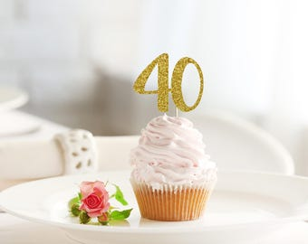 40 HAPPY BIRTHDAY glitter cupcake topper set of 12 - 40th cupcakes / cake / food picks / party decoration