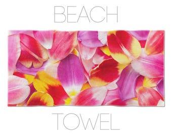 Tulip Petal Towel, Floral Towels, Pink Beach Towel, Flower Photography, Floral Decor, Floral Gym Towel, Tulip Photo Art