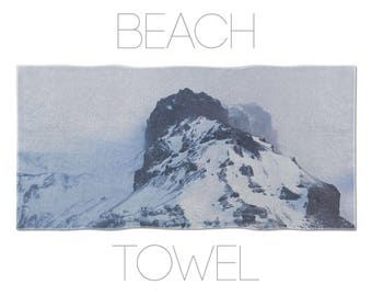 Photo Printed Towel, Icelandic Mountain, Cool Towels, Bath Accessories, Gym Towel, Mens Beach Towel, Cool Beach Towel, Landscape Photo