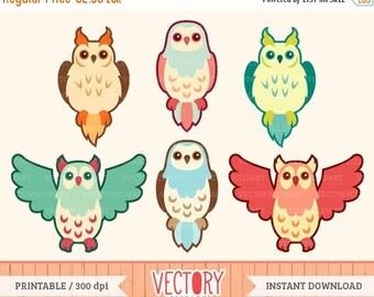 SUMMER SALE 50% OFF Cute Owl Clipart Set, Owl Clip Art, Vintage Owls, Retro Owl Clipart by VectoryClipart