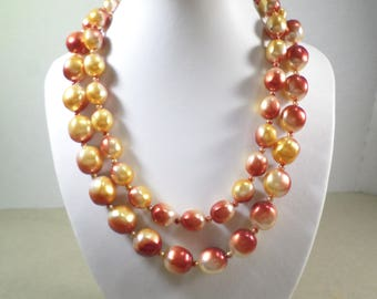 JAPAN! Beautiful Vintage Gold Tone Double Strand Acrylic Beaded Necklace Signed Japan  DL#2799