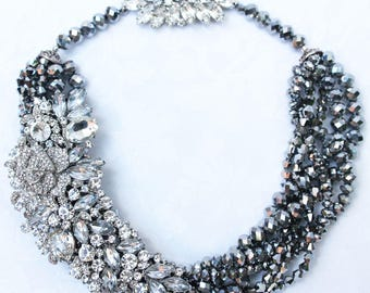Haematite and Rhinestone Crystal Statement Necklace