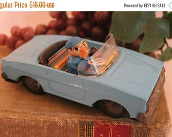 Christmas in July Vintage Blue Convertible Car Friction Toy with Waving Driver - Made in China, MF 171