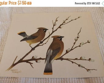 "SALE 1978 Sherm Pehrson 8"" x 10"" Bird Lithograph - Cedar Waxwings on Willow Branch"