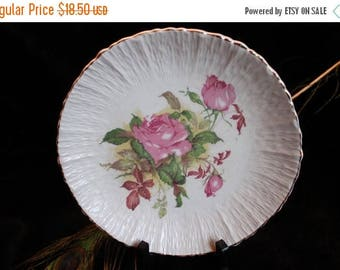 SALE Colonial China Plate - East Liverpool, Ohio Rose pattern
