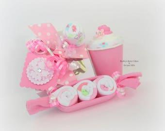 Baby Girl Gift, New Baby Gift, Baby Girl, Baby Girl Shower Gift, Baby Gifts for Girls, Onesie Cupcake, Girl Baby Shower, Baby Washcloths