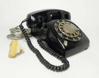 1970s Stromberg Carlson Black Vintage Rotary Telephone with Hold Button