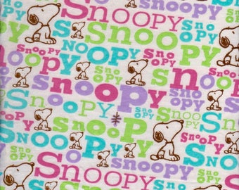 Snoopy  Logo Dog David and Goliath Cotton Jersey KNit Fabric