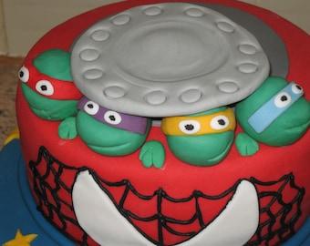 4 x edible ninja turtles cake decorations