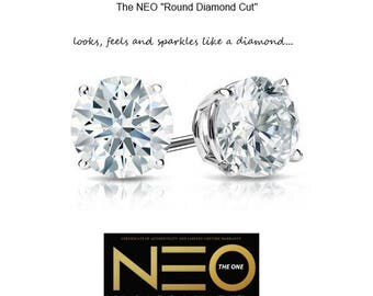 "2.00 Carat Round ""Diamond Cut"" NEO Moissanite Solitaire Earrings in 14K Gold (with NEO Moissanite warranty)"