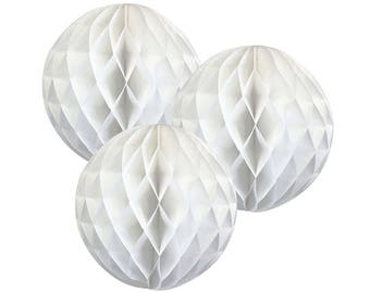 Just Artifacts Tissue Paper Honeycomb Ball (Set of 3, White)