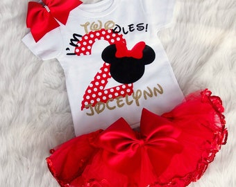 Second Birthday set - Minnie Mouse 2nd Birthday outfit - I'm Twodles birthday set- second birthday outfit - 2nd birthday outfit