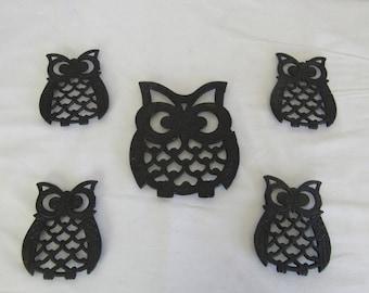 Owl Coasters, Metal Owl Coaster Set, Owl Trivet and Coasters, Owl Collectibles