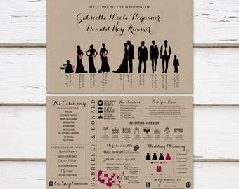 Printable Fun Infographic Wedding Program, Unique Wedding Program, Silhouette  Program, Bridal Party, Entertaining, Fun Facts, Outline MB249