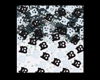 Number 18 table confetti, foil, silver and black, 18th birthday, party decorations, table decorations, UK seller, age confetti, age 18