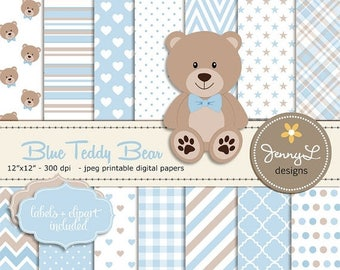 50% OFF Blue Teddy Bear Digital papers, Teddy Bear clipart, Baby Shower, Baptism, Nursery, Scrapbooking Papers, Birthday, Baby Boy, Blue and