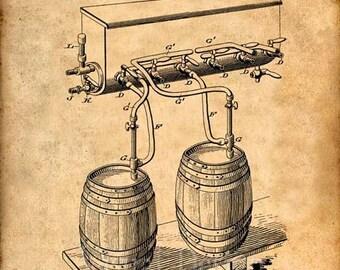 Beer Cold Air Pressure Apparatus Patent Print, Beer Art Print, Beer Patent Poster, Beer, Beer Art, Bar, Beer Print, Beer Keg