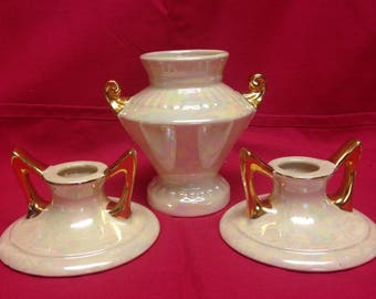 Pearl China Company Hand Painted 22 Carat Candleholders and Vase