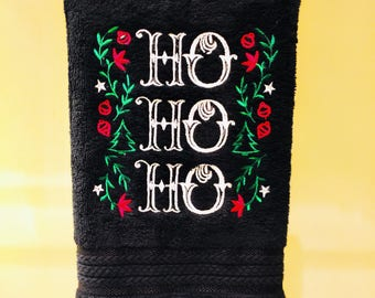 Ready to ship! Hand towels with chalkboard look - embossed embroidered Christmas Ho Ho Ho set of 2.
