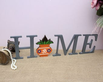 Diwali Decor, Home Wood Letters, Indian Home Decor, Interchangeable Letters, Kalash with Coconut, Wood Letters, Indian Housewarming Gift