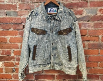 Vintage Acid Washed Denim Jacket with Brown Leather Detailing by Big Country Medium/Small