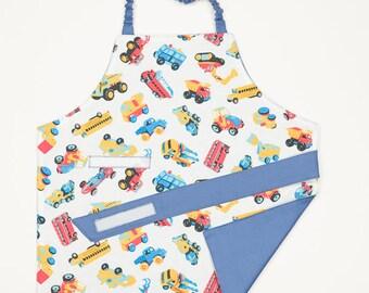 Montessori apron, Kids apron, Children apron, Fits 1.5 - 5 years, Cars + blue cotton lining