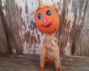 Vintage Halloween Corn Husk Pumpkin, Japan