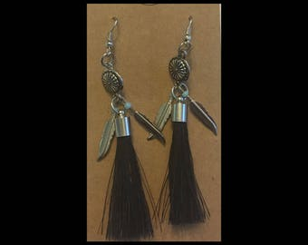 Horsehair Tassel Earrings with feathers
