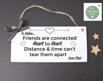 Friends Plaque Inspirational Quote Sign Distance Overseas Keepsake