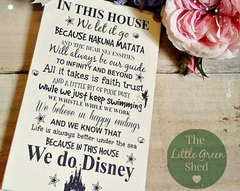 Disney Quotes Plaque Family Friend Nursery Birthday Sign In This House 12x20cm