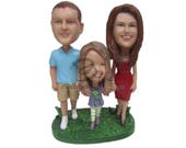Custom Bobblehead Dad, Mom and Little Daughter, Dad Mom and Daughter Custom Bobbehead, Family Custom Bobblehead