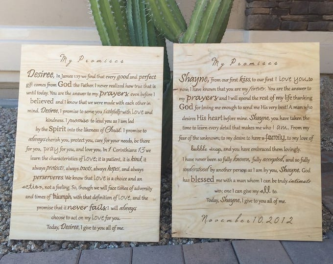 Wedding Vows Engraved Wood Board, Wedding Vow Gift, Vow Sign, Wedding Anniversary Gift, Personalized Frame, Bride Groom Keepsake, Canvas Art