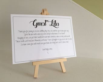 Add on Item,Signage, Mad Libs, Fill in the Blanks, Alternative Guestbooks
