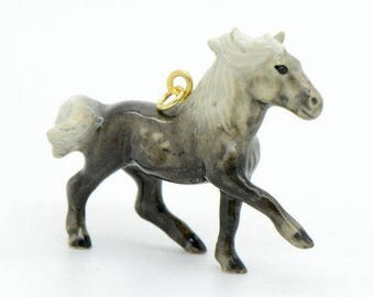 Ceramic grey galloping horse charm - 44x37mm