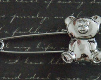 Brooch bear silver-plated 2, 5 x 5, 8cm