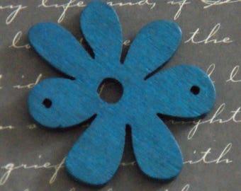 Blue flower wooden 40x33mm connector