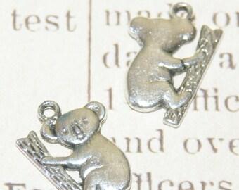 2 charms koala on a tree in silver 20x14mm