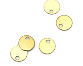 5 mini charms 6mm Golden brass disc